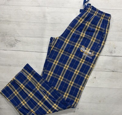 Royal/Gold plaid lounge pants with your choice of HC Logo