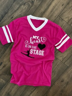 My Heart Is On That Stage V-Neck Jersey Short Sleeve T-shirt