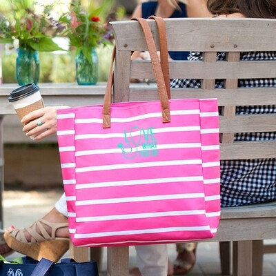 Love What You Do Hot Pink Stripe Tote