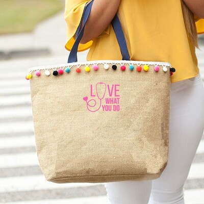 Love What You Do Multi-Colored Pom-Pom Tote