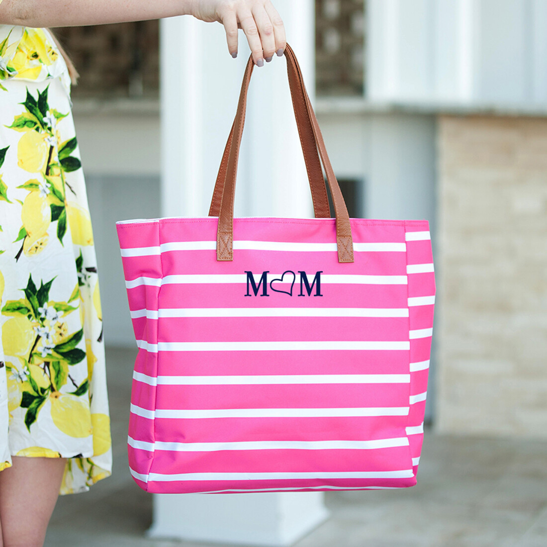 Mom Hot Pink Stripe Tote Bag