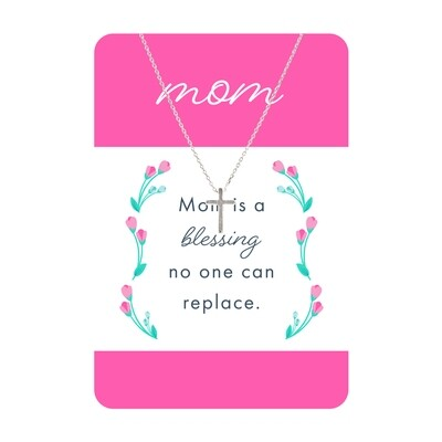 Silver Cross Mom Necklace Card