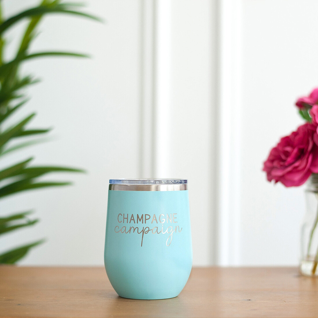Teal Champagne Campaign 12 oz Tumbler