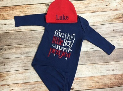 For This Little Boy We Have Prayed Navy Blue Gown & Red Hat