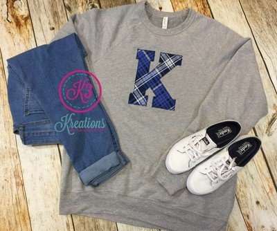 K - Kentucky Plaid Sponge Fleece Crewneck