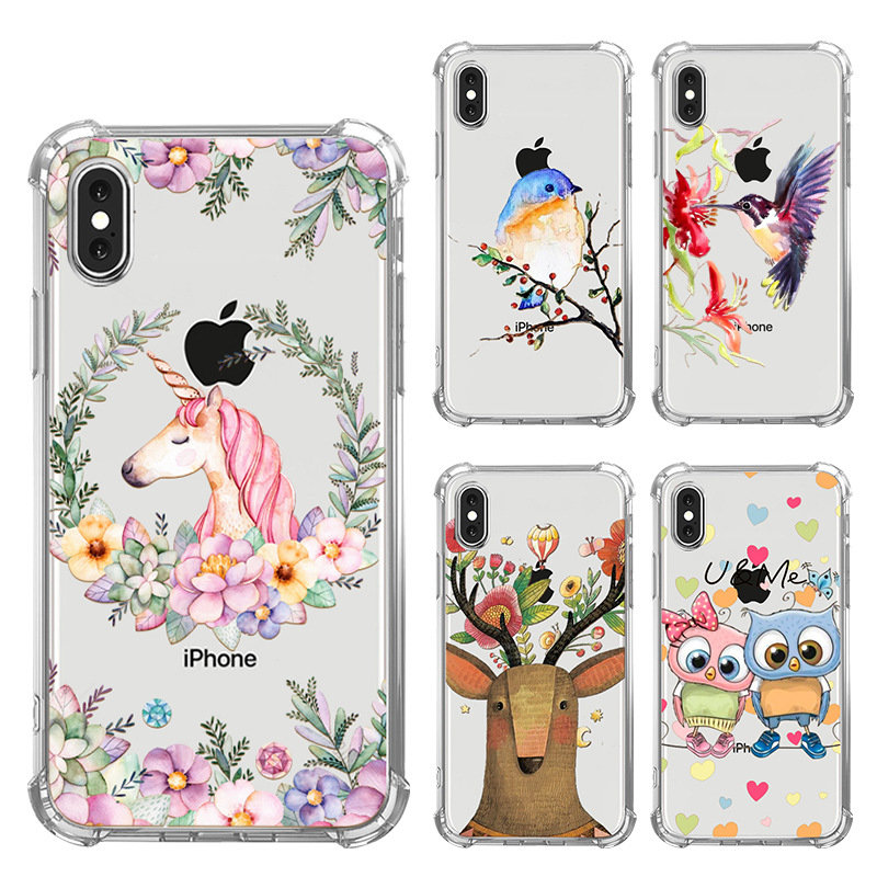 Quality Soft TPU Painting Transparent Phone Cases for iPhone