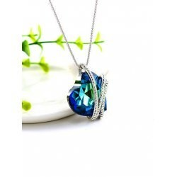 Blue Ice Heart Necklace
