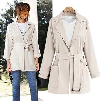 New Arrival Tie-wrap Solid Long Sleeves Coat