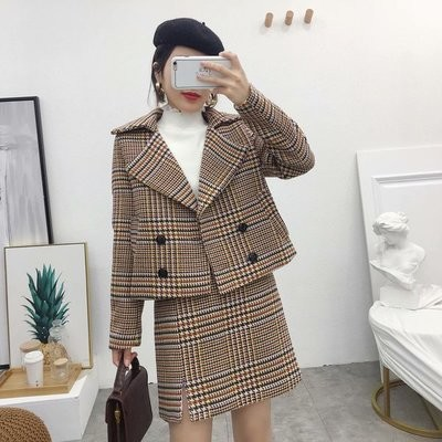 Fashionable Houndstooth Lapel Crop Jacket