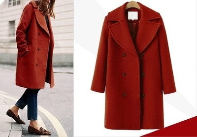 European Style Lapel Double Breasted Coat