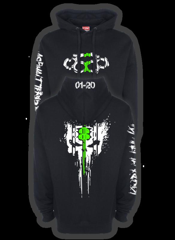 ASPHALT TERRORIST SCRATCH Kapuzenpullover grün/weiß