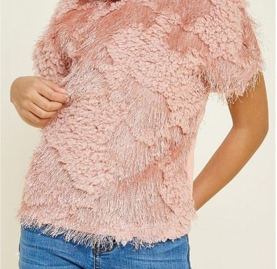 Textured Sherpa Sweater Top
