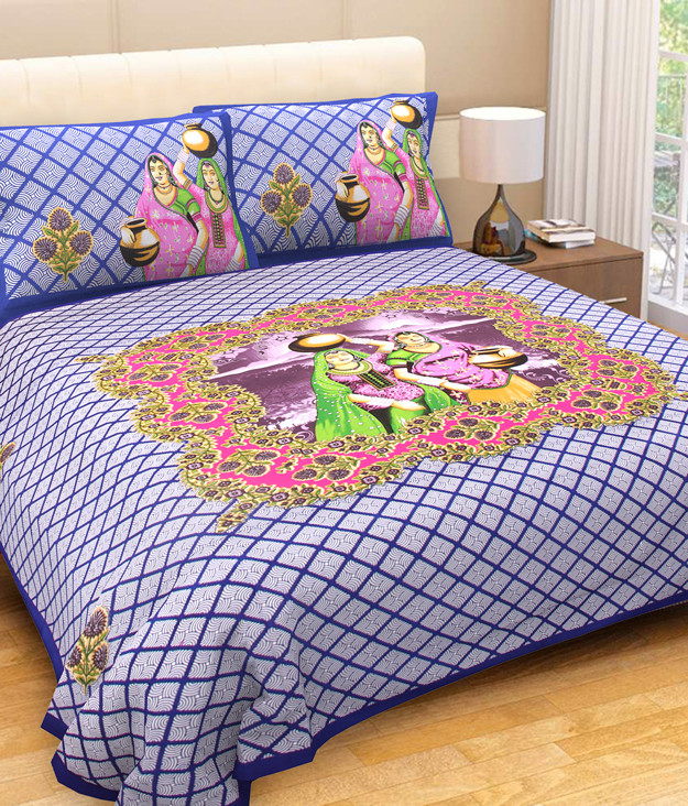 King size sanganeri print Double bedsheetwith two pillow cover