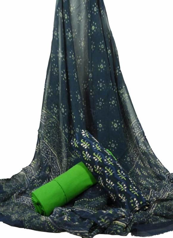 sanganerjaipur Handblock printed unstiched suit with chifon dupatta