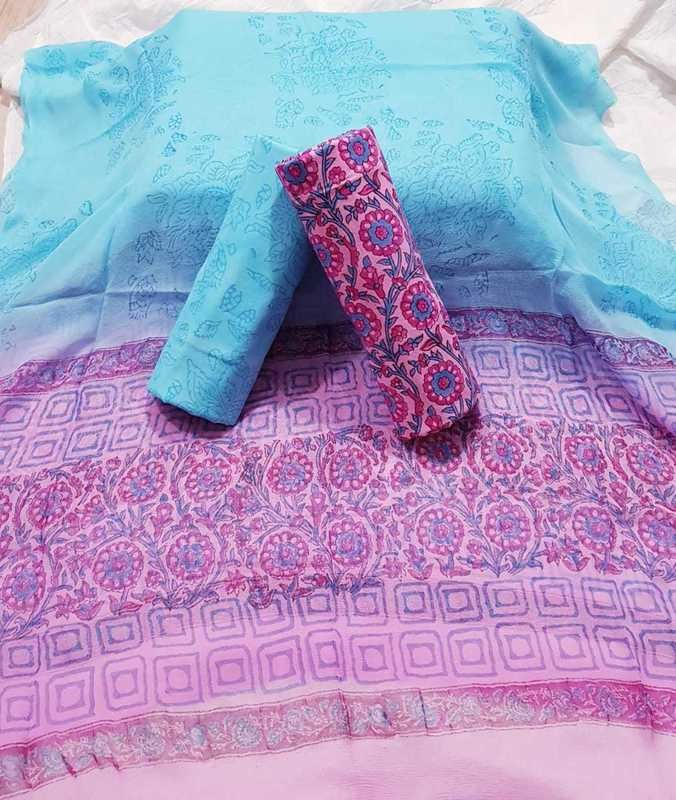 Handblock Print Unstiched suit with pure chiffon dupatta