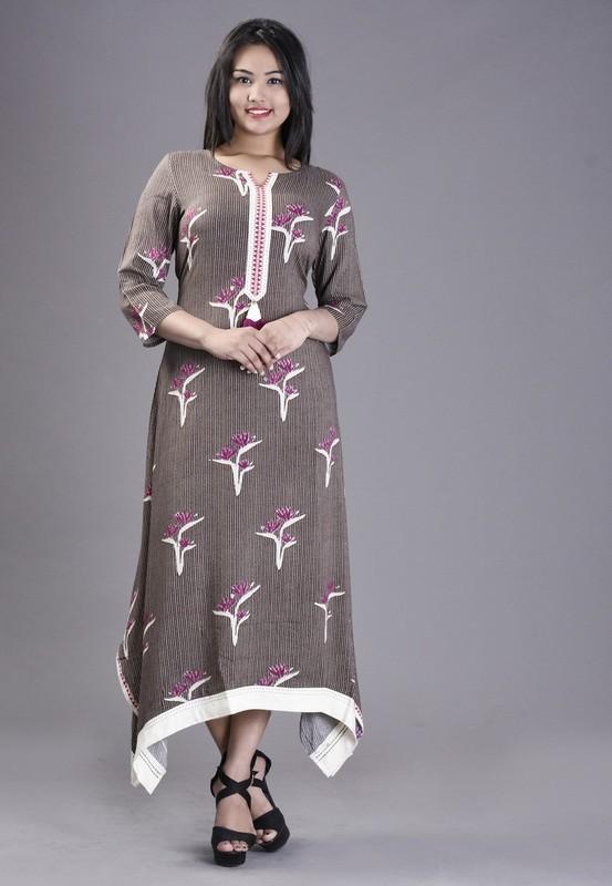 Rayon Floral Printed Long Designer Kurti