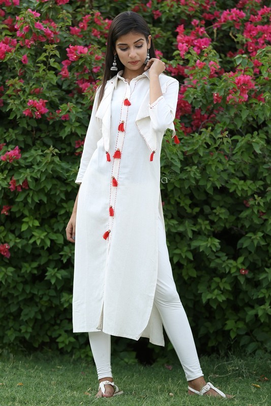 Cotton Embroidery Work Long Kurti With Jacket And Tussel