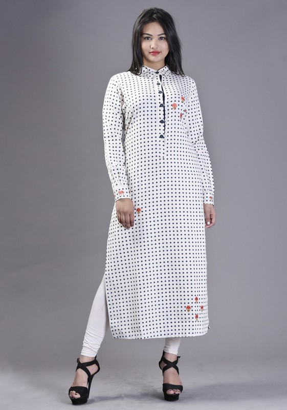 Cotton Flex Printed Long Kurti with Floral Embroidery
