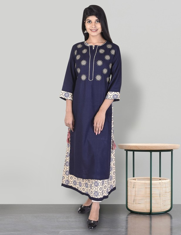 Rayon Zari Embroidery Work Long Kurti with Cotton printed Inner