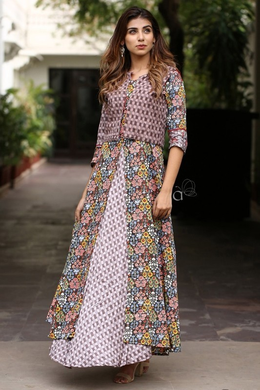Cotton Satin Floral Printed Double Layer Gown Style Long Kurti With Zari Embroidery Work Jackets