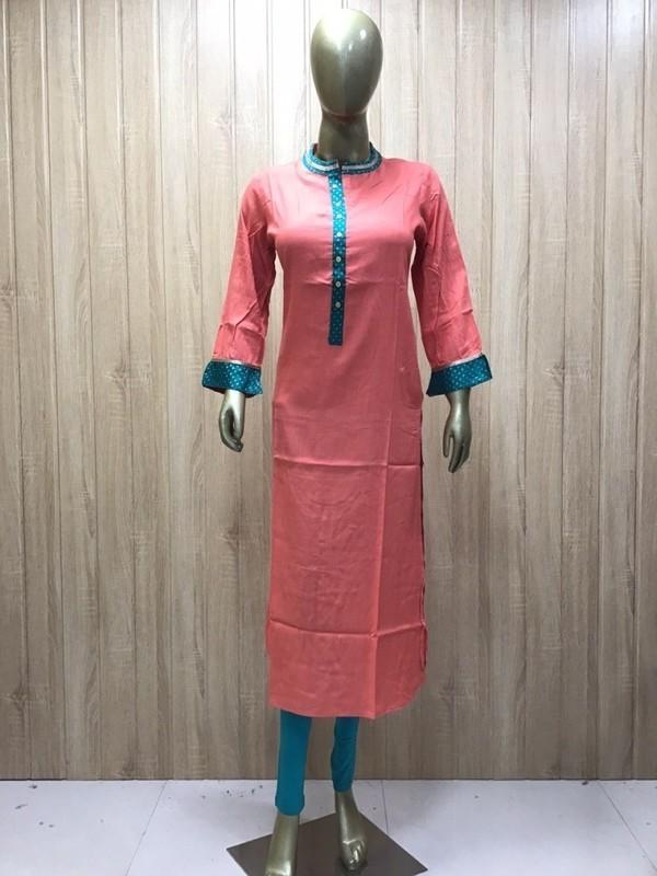 Rayon Straight Lace work kurti