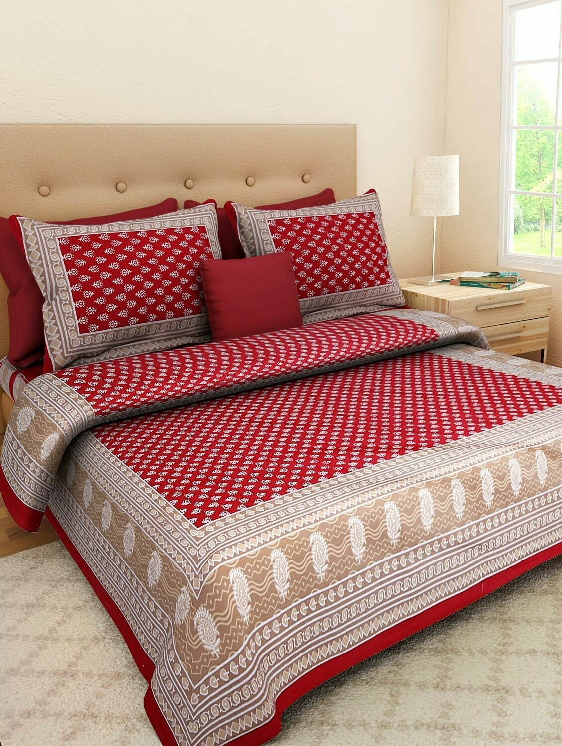 Saganerjaipur Printed Queen size cotton Double bedsheet with two pillow covers .