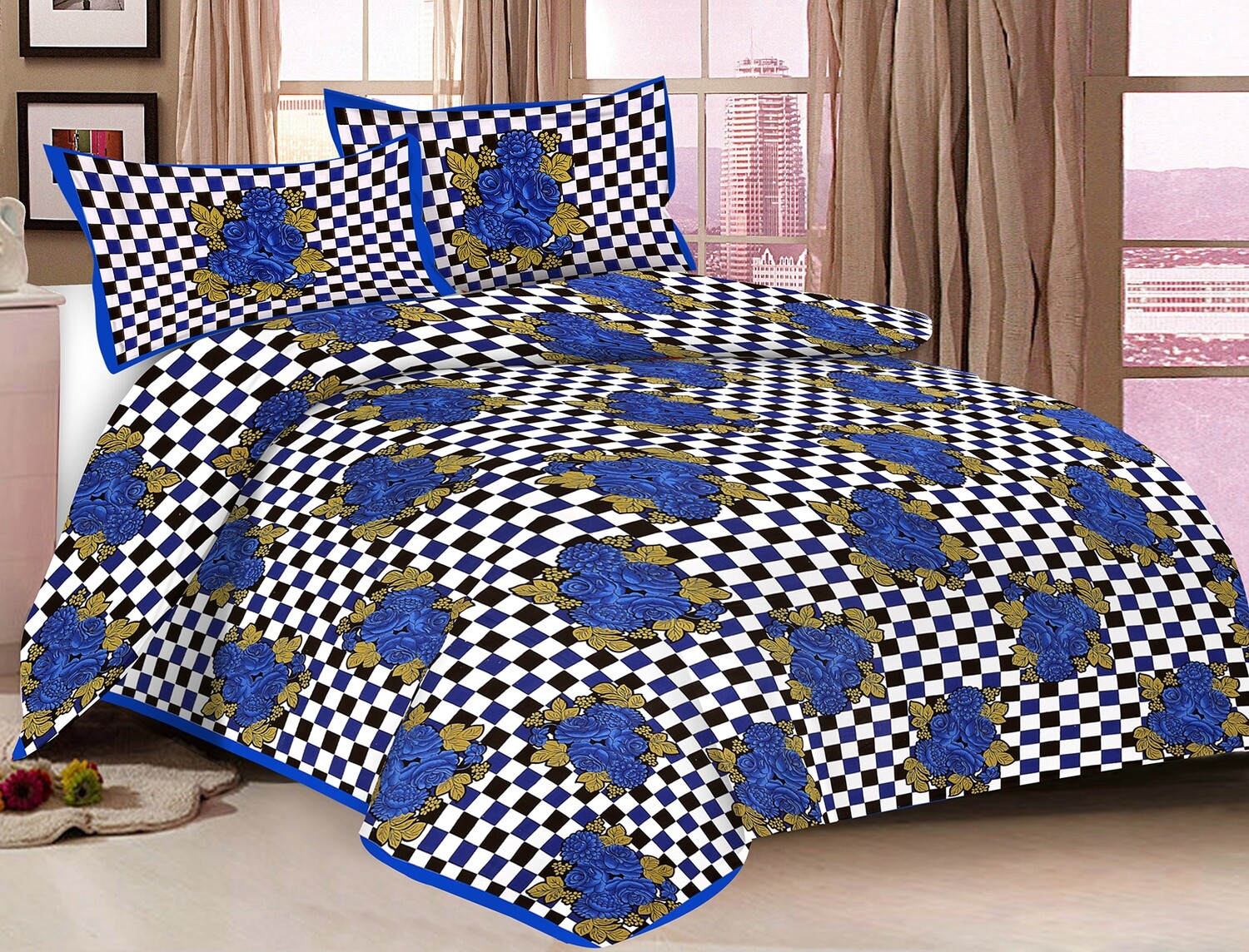2004  Double Bedsheets With Two Pillow Cover