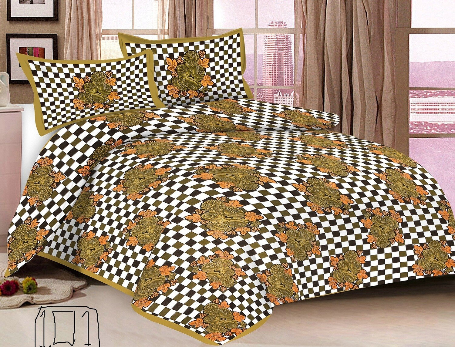 2005  Double Bedsheets With Two Pillow Cover