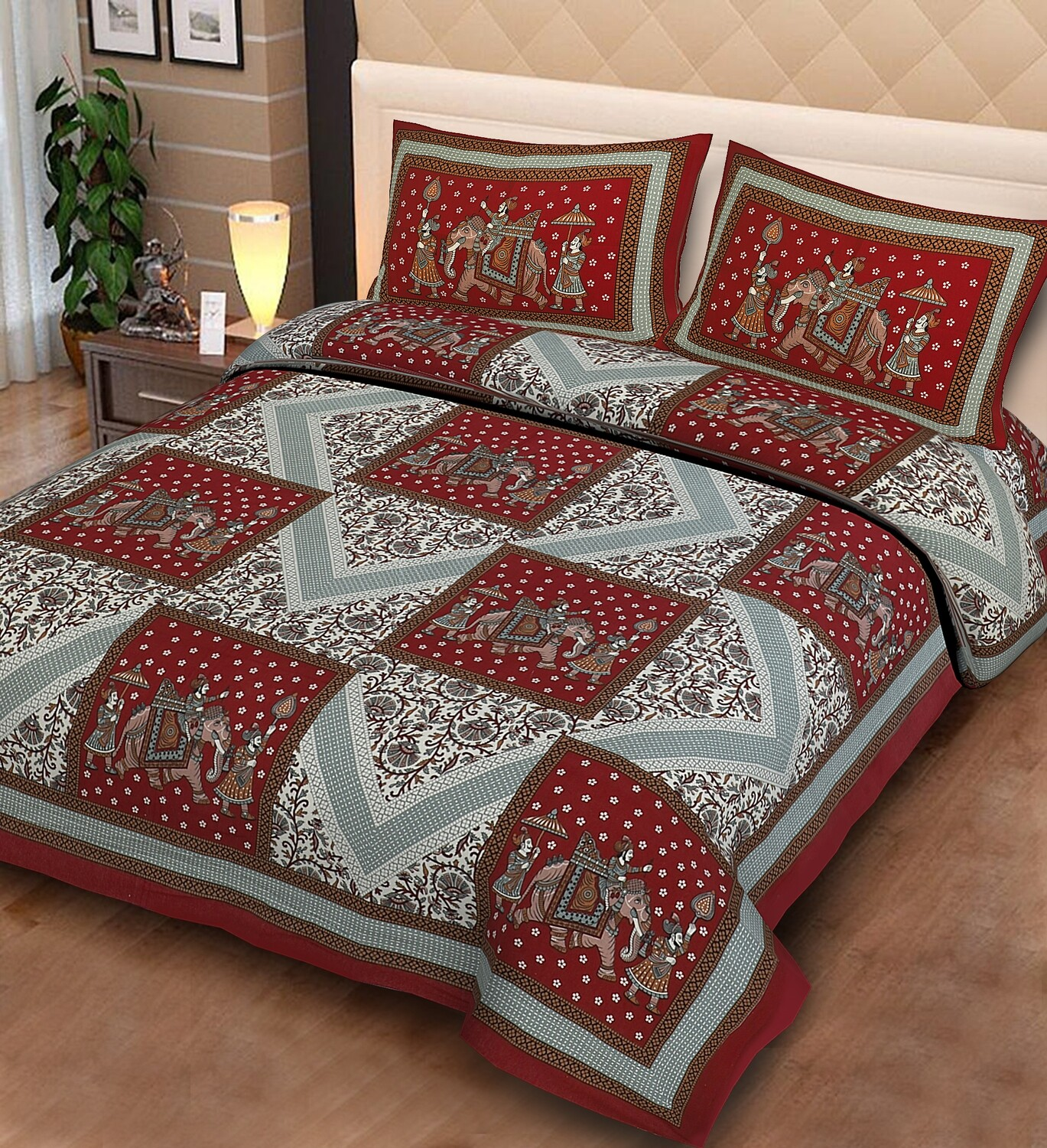 2021  Double Bedsheets With Two Pillow Cover