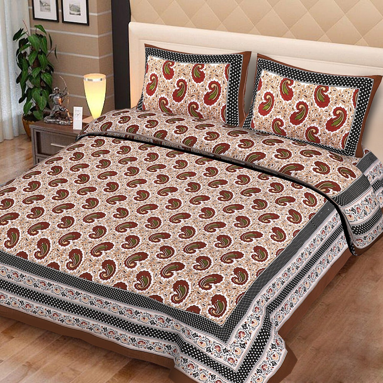 2023  Double Bedsheets With Two Pillow Cover