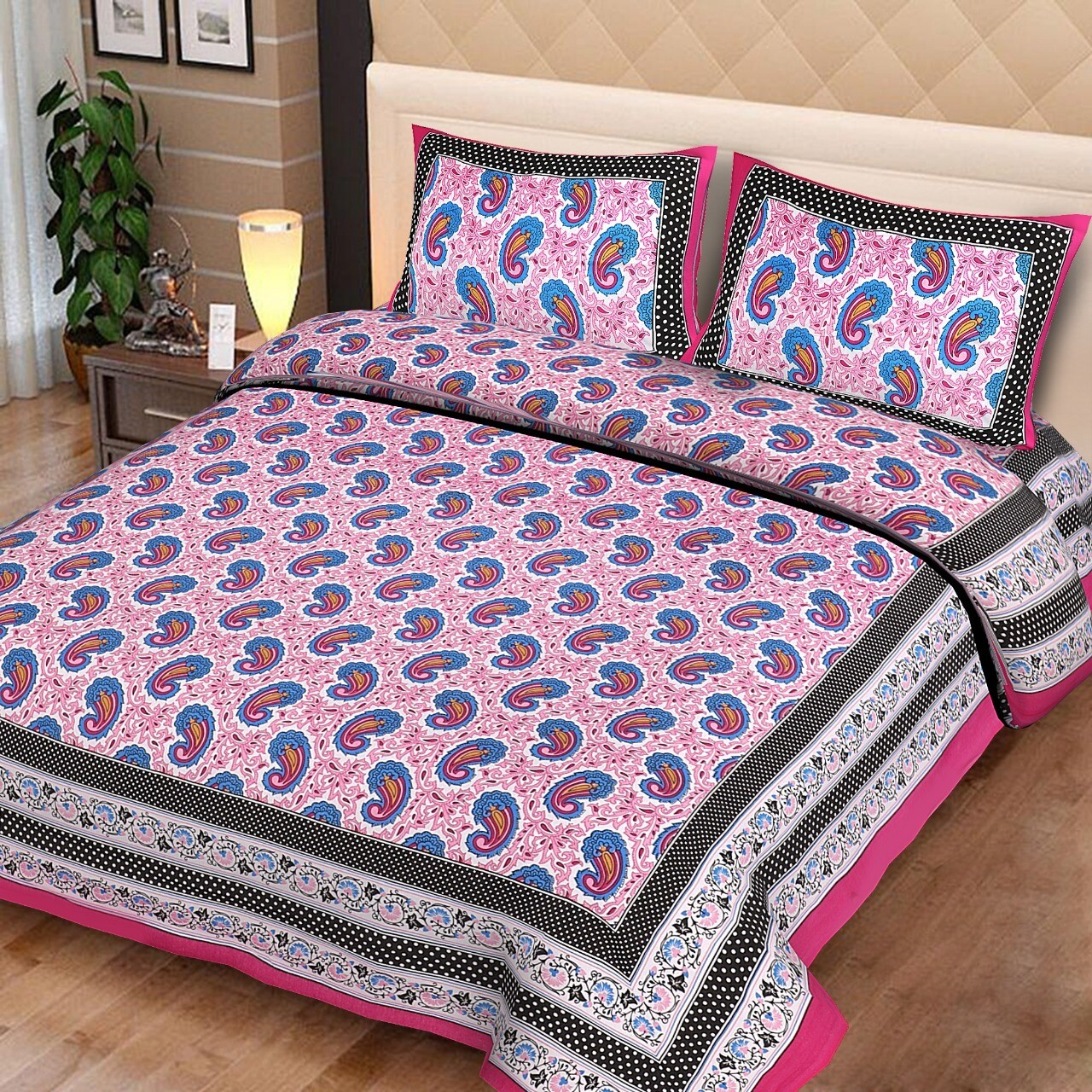 2025  Double Bedsheets With Two Pillow Cover
