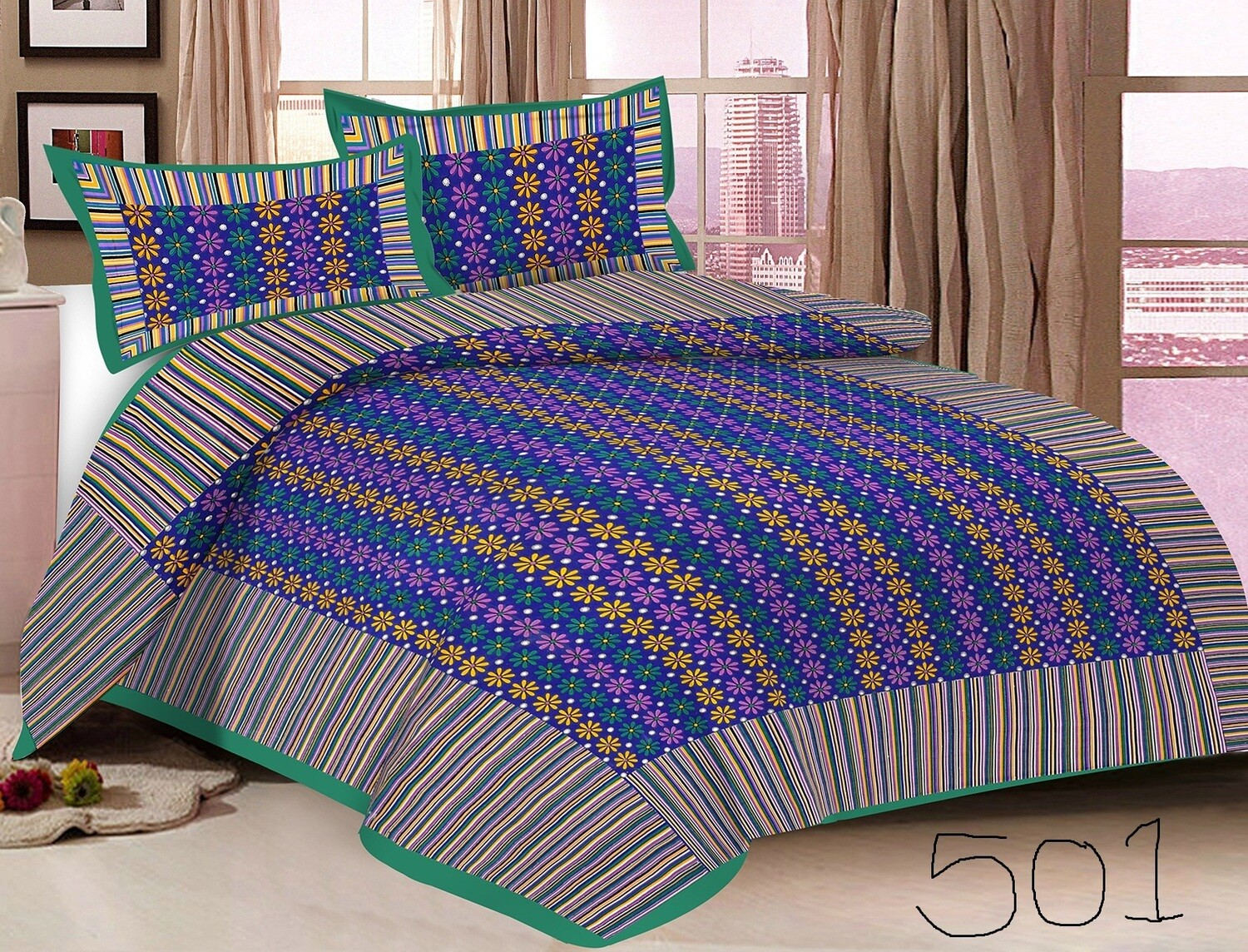 2028  Double Bedsheets With Two Pillow Cover