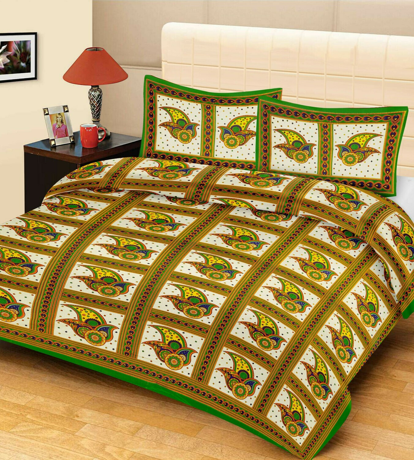 2033  Double Bedsheets With Two Pillow Cover