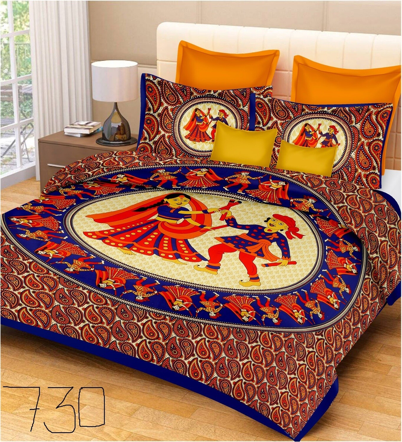 2035  Double Bedsheets With Two Pillow Cover