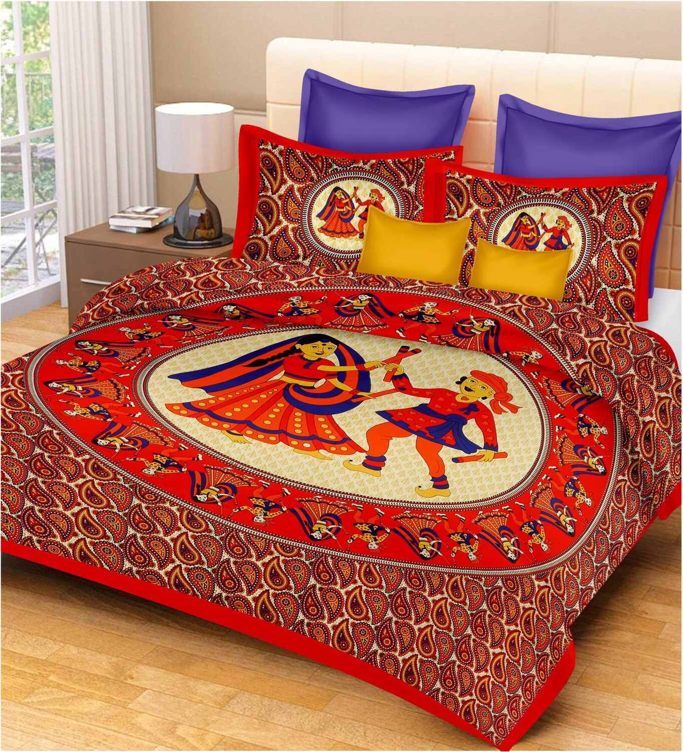 2037  Double Bedsheets With Two Pillow Cover