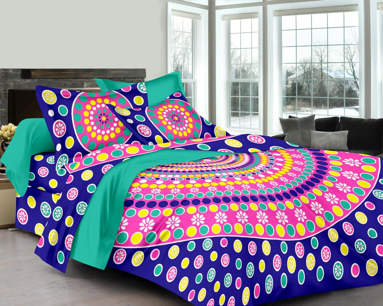 2038  Double Bedsheets With Two Pillow Cover