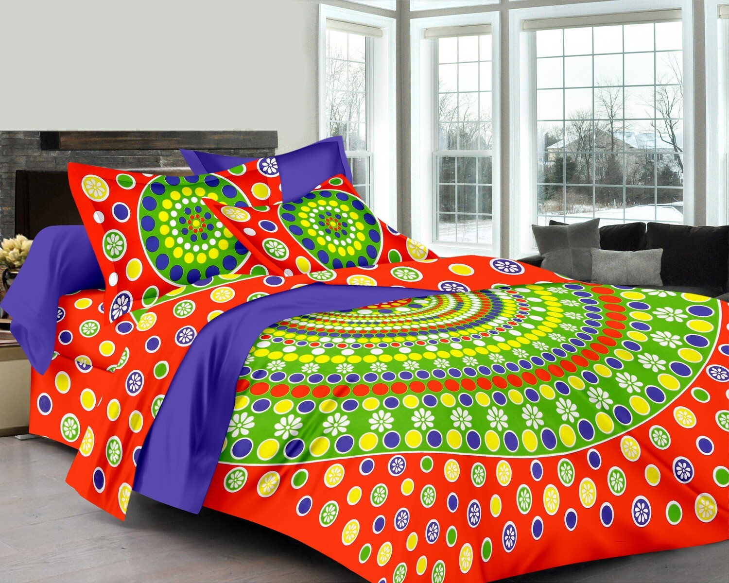 2039  Double Bedsheets With Two Pillow Cover