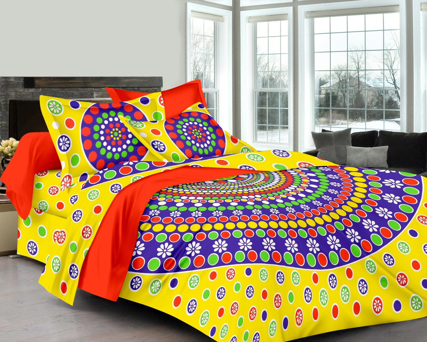 2040  Double Bedsheets With Two Pillow Cover