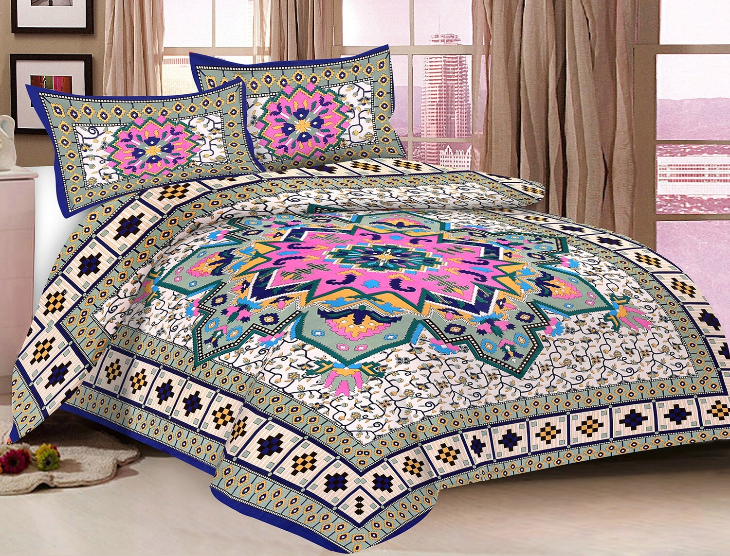 2041  Double Bedsheets With Two Pillow Cover