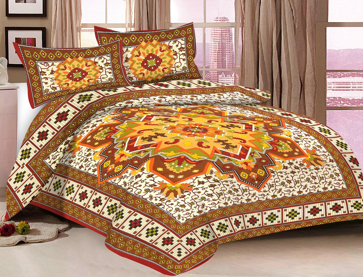2042  Double Bedsheets With Two Pillow Cover