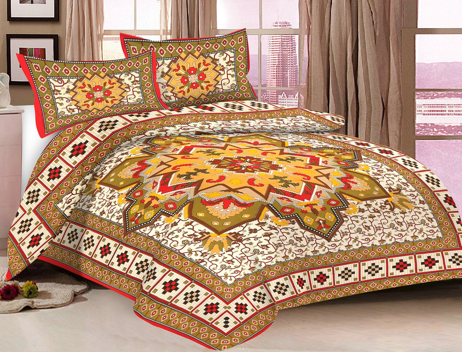 2043  Double Bedsheets With Two Pillow Cover
