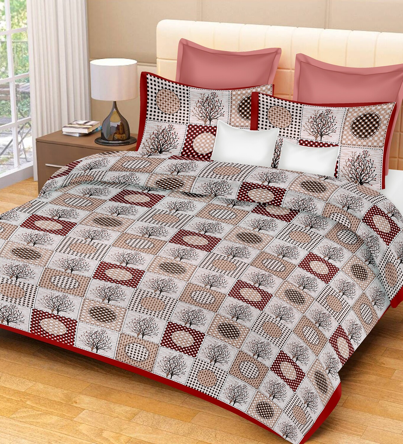 2045  Double Bedsheets With Two Pillow Cover
