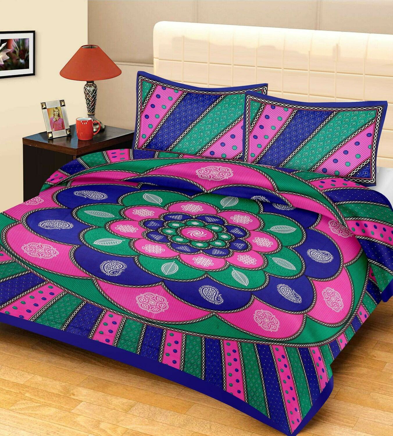 2047  Double Bedsheets With Two Pillow Cover