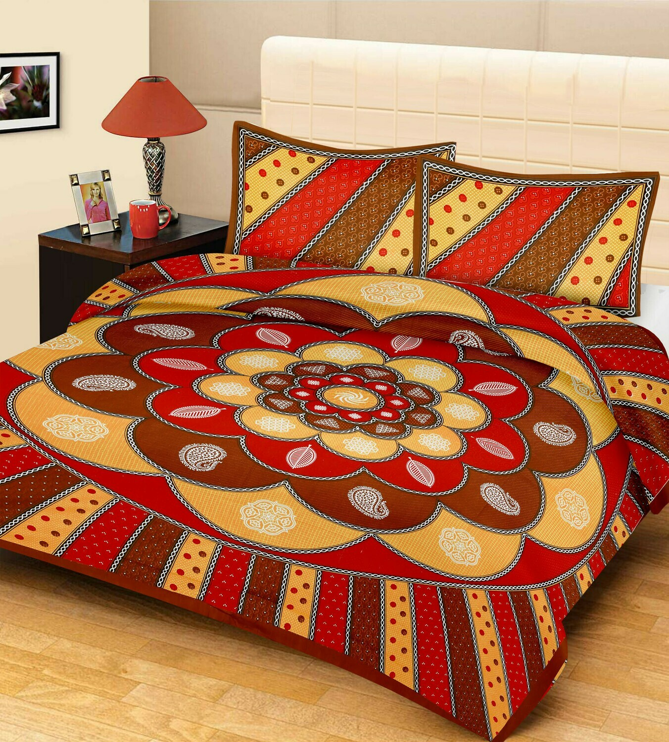 2048  Double Bedsheets With Two Pillow Cover