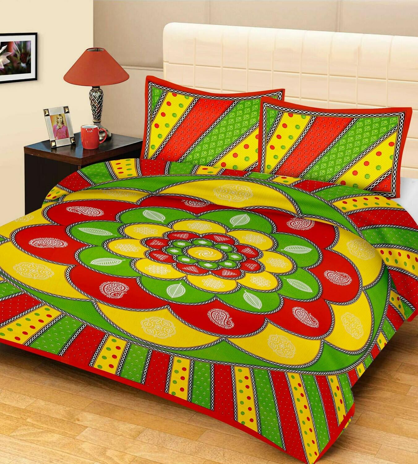 2049  Double Bedsheets With Two Pillow Cover