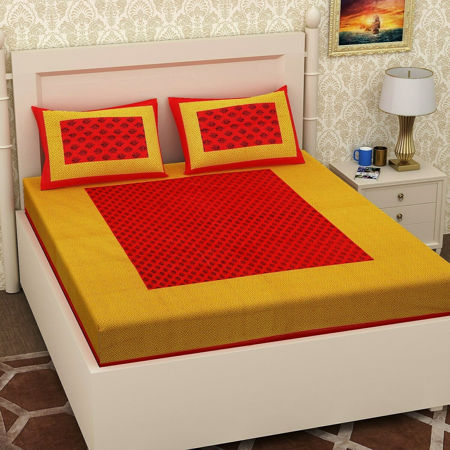 RJ-14  Double Bedsheets With Two Pillow Cover