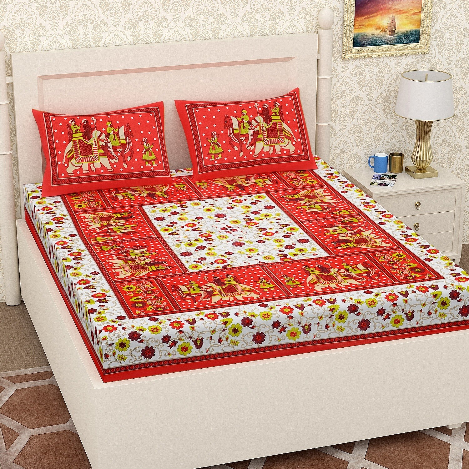 2053-RJ-14  Double Bedsheets With Two Pillow Cover