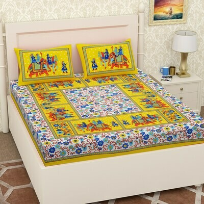 2054 -RJ-14  Double Bedsheets With Two Pillow Cover