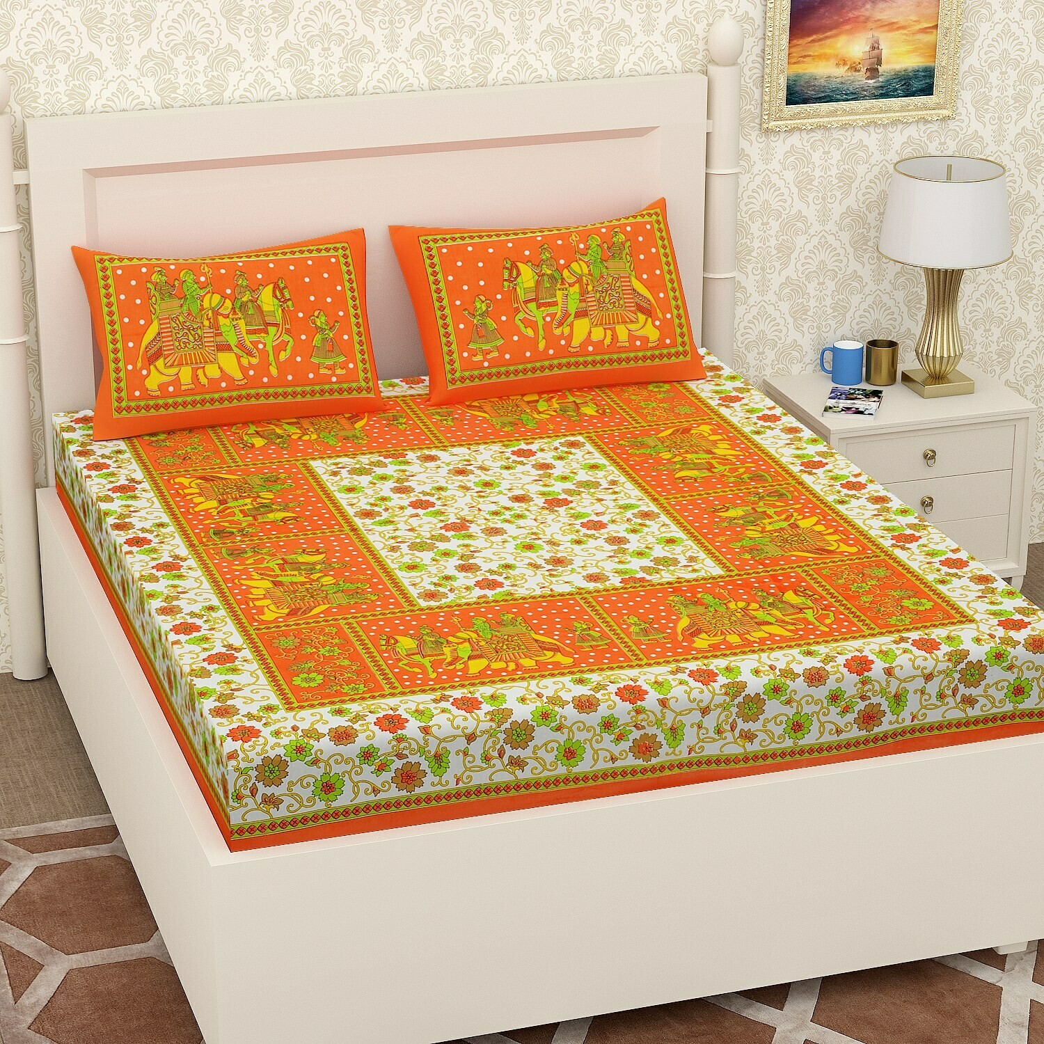 2055 -RJ-14 Double Bedsheets With Two Pillow Cover
