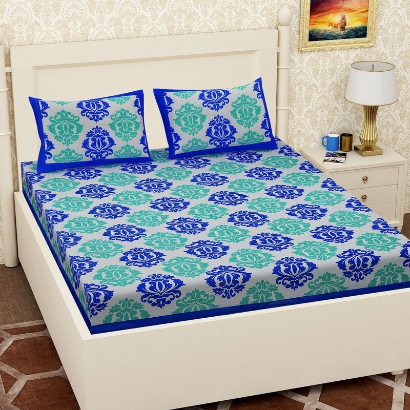 2056  RJ-14 Double Bedsheets With Two Pillow Cover